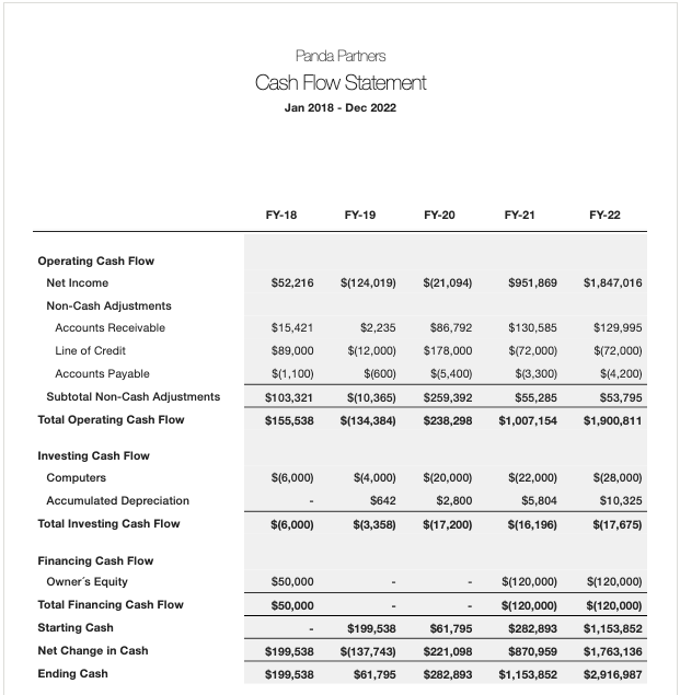 Jirav demo cash flow statement