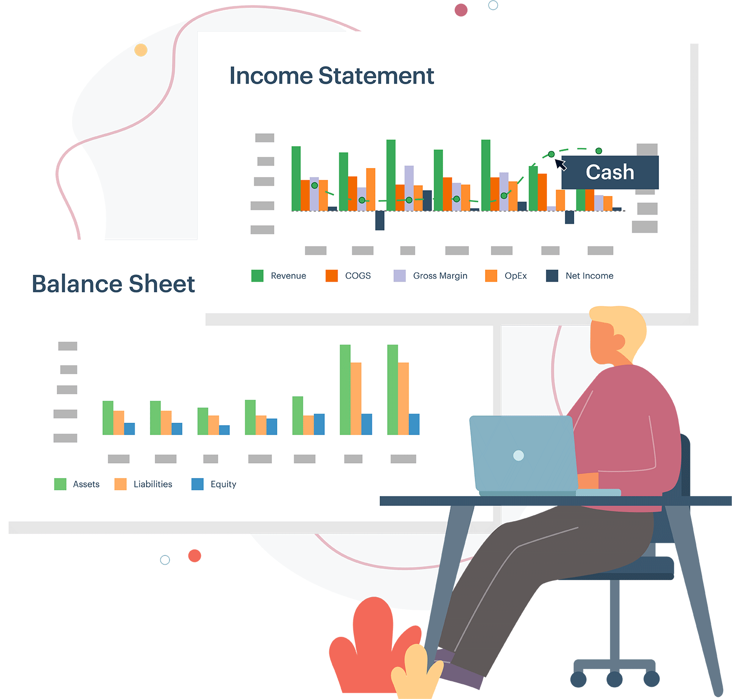 Jirav forecasts not just your income statement, but also your balance sheet and statement of cash flows.