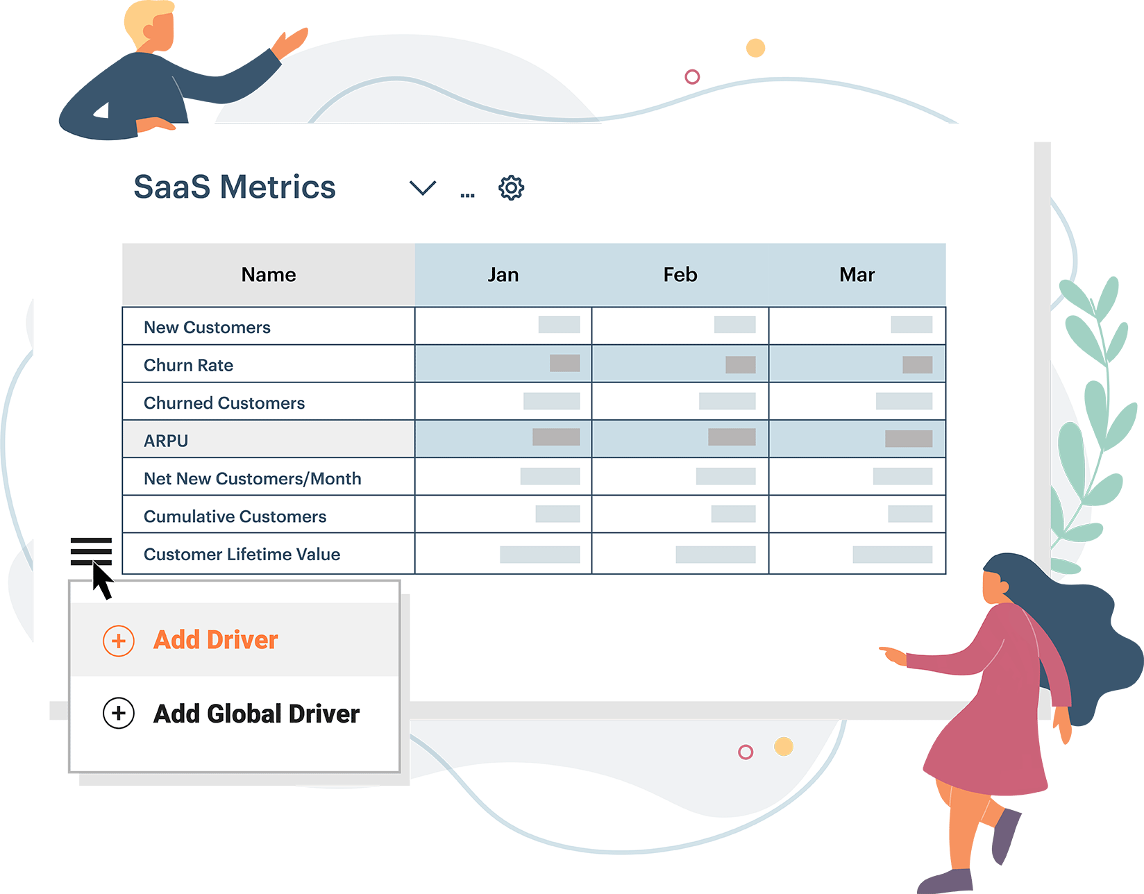 Building a SaaS metrics custom table using Jirav drivers to project sales and revenue