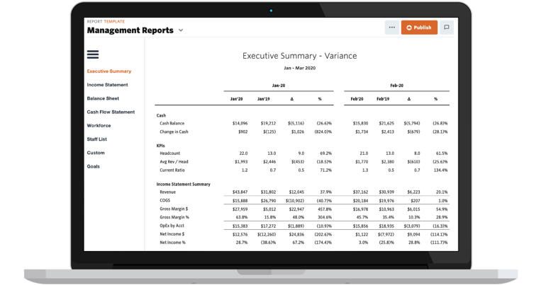Example of Jirav's Executive Summary Variance report